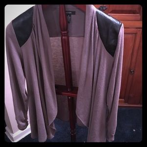 Alfani high low cardigan with faux leather accent